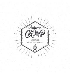 Autumn camp- calligraphic lettering badge label vector