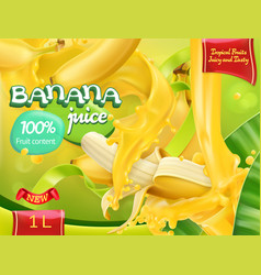 Banana juice sweet tropical fruits 3d realistic vector
