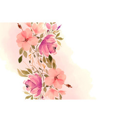 beautiful watercolor flowers and leaves vector image