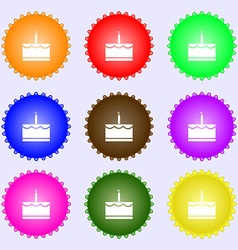 Birthday cake icon sign Big set of colorful vector image