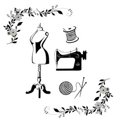 black and white tailor sewing logo set vector image