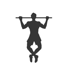 Black silhouette tightening man horizontal bar vector