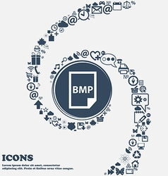 Bmp icon in the center around the many beautiful vector