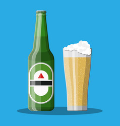Bottle of beer with glass beer alcohol drink vector