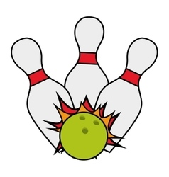 Bowling ball pin strike cartoon vector