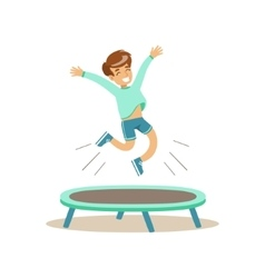 Boy Jumping On Trampoline Kid Practicing vector