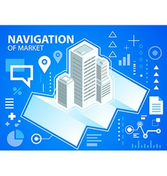 Bright navigation map and buildings on blue vector