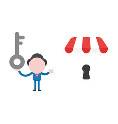 Businessman character holding key and showing vector