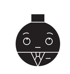 businessman emoji black concept icon vector image
