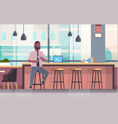 businessman sitting on chair at bar counter with vector image