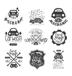 Car Wash Vintage Stamp Collection vector