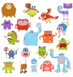 Cartoon cute monsters set vector