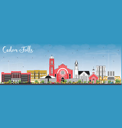 Cedar falls iowa skyline with color buildings and vector