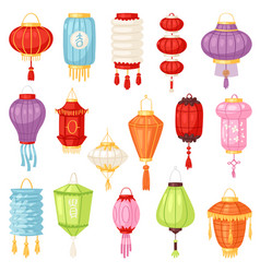 Chinese lantern traditional colorful vector