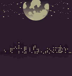 City in moonlight vector