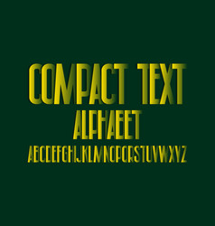 compact text alphabet yellow paper cut letters vector image