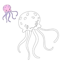 Connect the dots game jellyfish vector