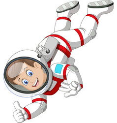 Cool astronout wear white red suit uniform flying vector