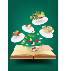 Creative recipe book concept idea vector image
