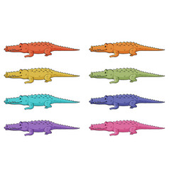 crocodiles in different colors vector image