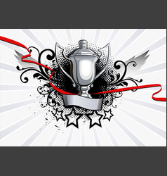 cup winner with rays background vector image