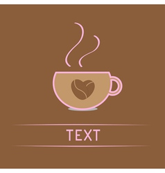 Cup with coffee seeds heart Love card vector