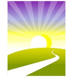Curved path land sunrise vector image
