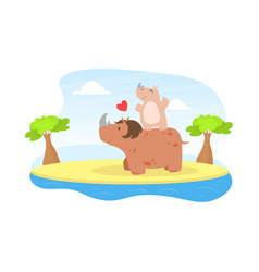 Cute barhinoceros and parent happy wild vector