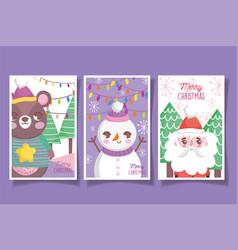 cute bear snowman santa happy christmas tags vector image