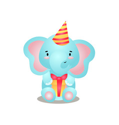 cute blue elephant is ready for birthday with gift vector image