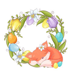 cute cartoon fox with a wreath easter multi vector image