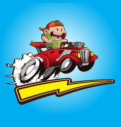cute kid with his hot rods car vector image