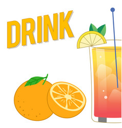 drink mix cocktail orange background image vector image