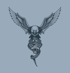 eagle with snake in claws tattoo style vector image
