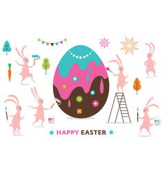 Easter scene funny bunnies painting a big egg vector