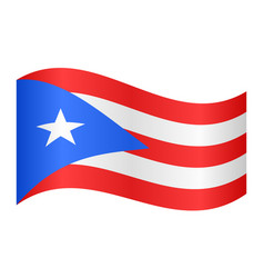 flag of puerto rico waving on white background vector image