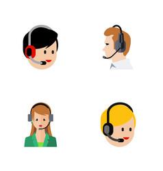 flat hotline set of secretary telemarketing call vector image
