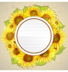 Floral decorative card with sunflowers vector