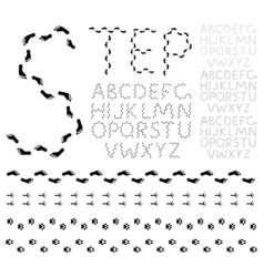 footprint alphabet vector image