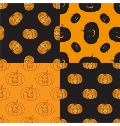 Four Halloween seamless pattern with pumpkin vector image