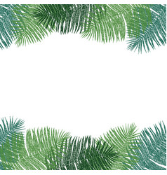 frame of green palm leaves hand drawing vector image
