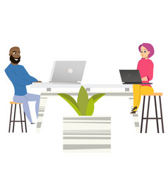 freelancers man woman sit at table with laptops vector image