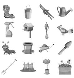 Gardening icons set gray monochrome style vector