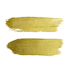 Gold paint smear stroke stain set abstract gold vector
