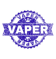 Grunge textured vaper stamp seal with ribbon vector