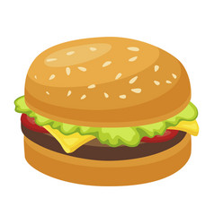 hamburger snack icon delicious meat fresh meal vector image