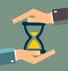 hand protect hourglass time management vector image