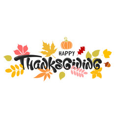 happy thanksgiving celebration typography vector image