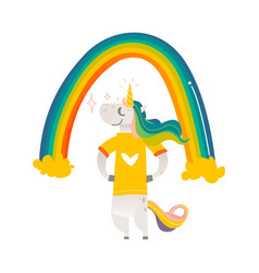 happy unicorn character standing under big rainbow vector image