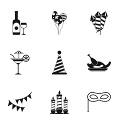 Holiday birthday icons set simple style vector